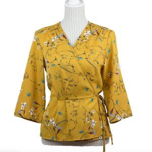 Mustard Floral Wrap around tie on Blouse top shirt